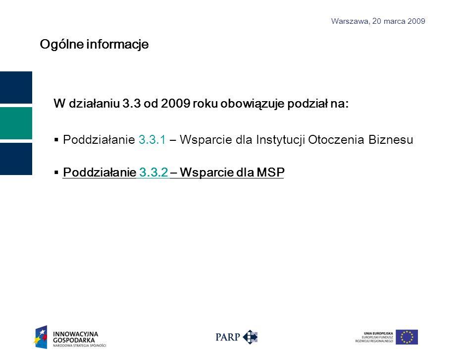 Ogólne informacje W działaniu 3.3 od 2009 roku obowiązuje podział na:
