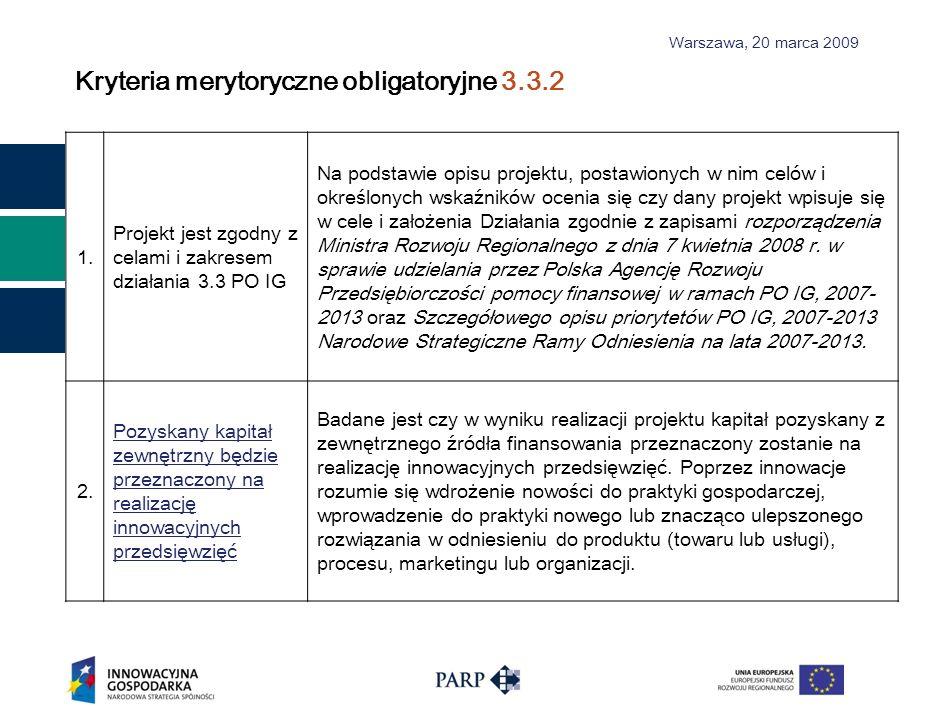 Kryteria merytoryczne obligatoryjne 3.3.2