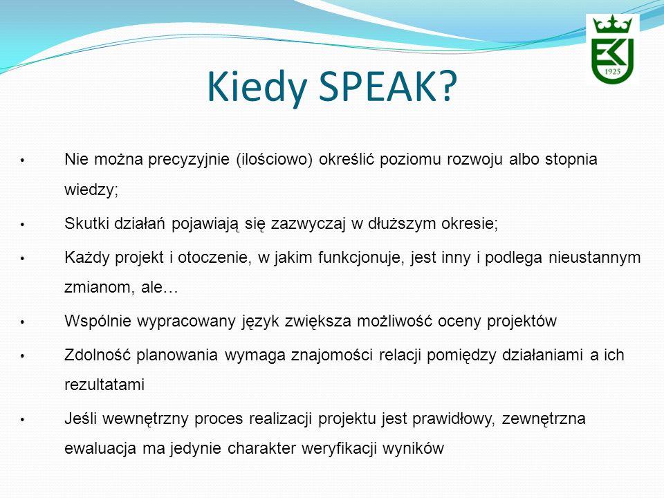 Kiedy SPEAK Nie można precyzyjnie (ilościowo) określić poziomu rozwoju albo stopnia wiedzy;
