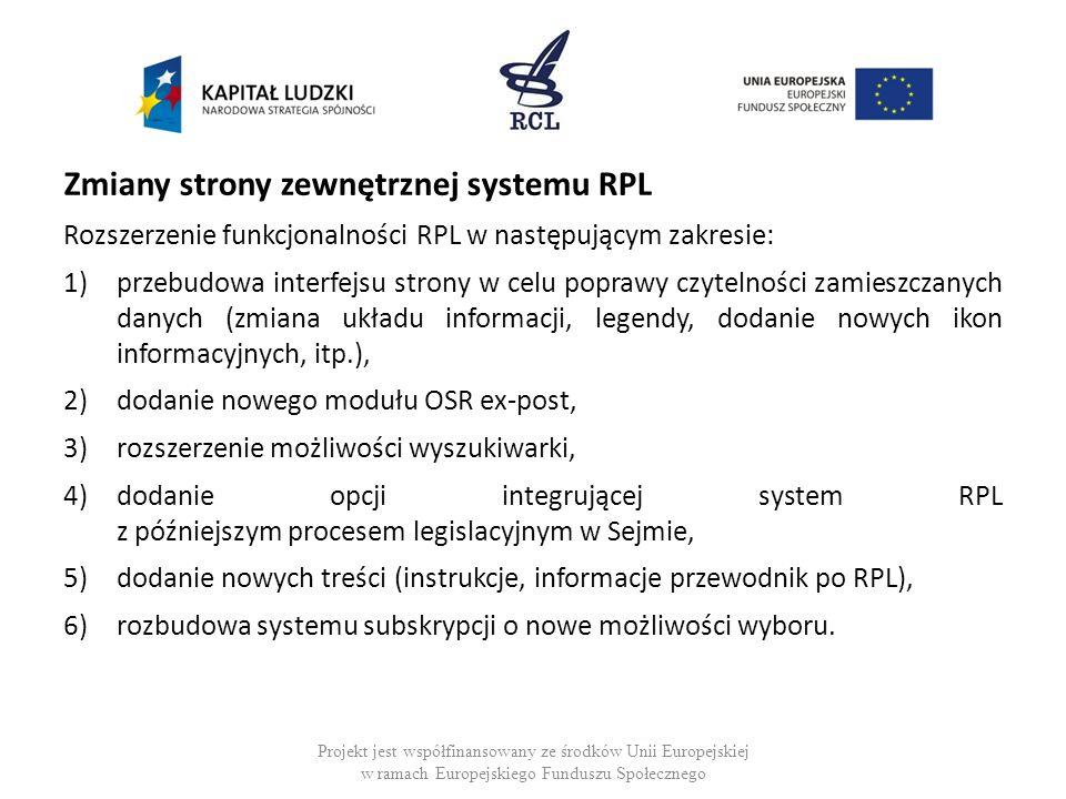 Zmiany strony zewnętrznej systemu RPL
