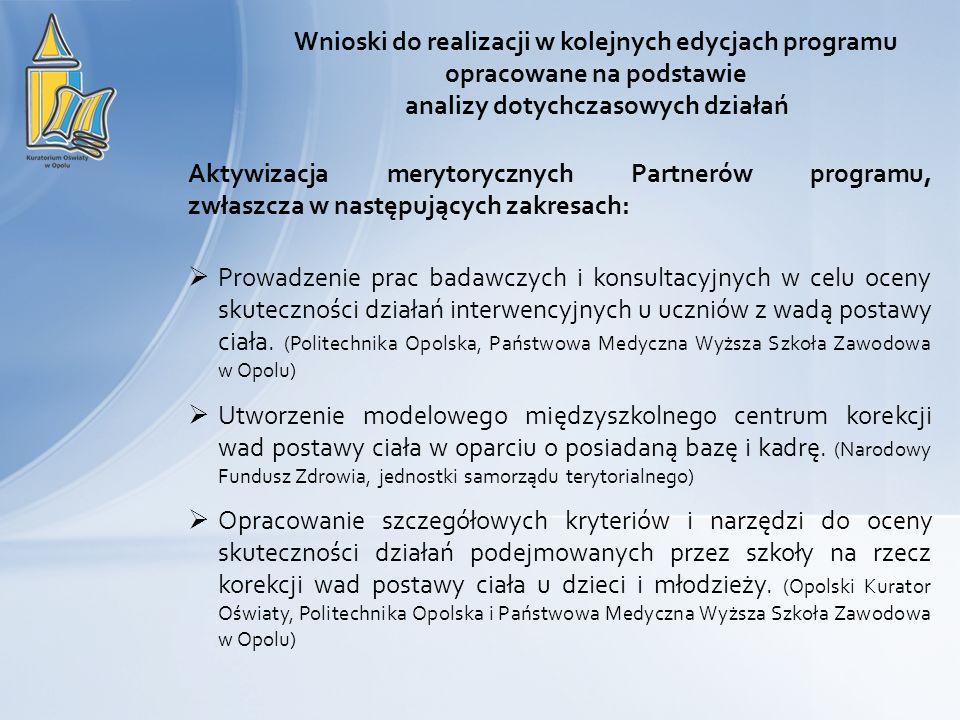 Wnioski do realizacji w kolejnych edycjach programu opracowane na podstawie analizy dotychczasowych działań