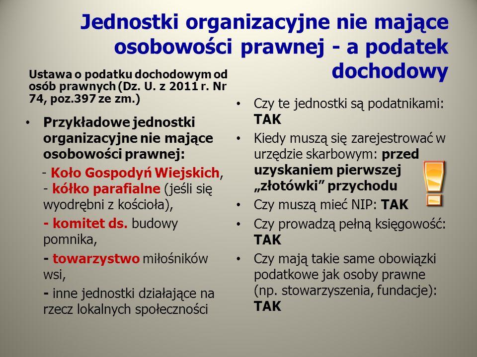 Jednostki organizacyjne nie mające osobowości prawnej - a podatek dochodowy