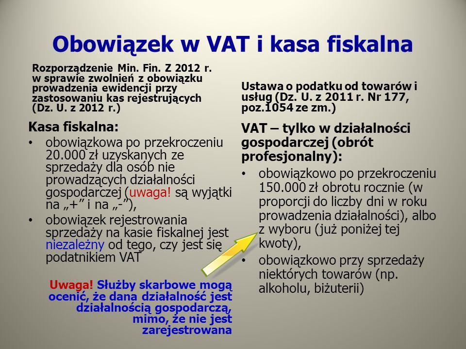 Obowiązek w VAT i kasa fiskalna