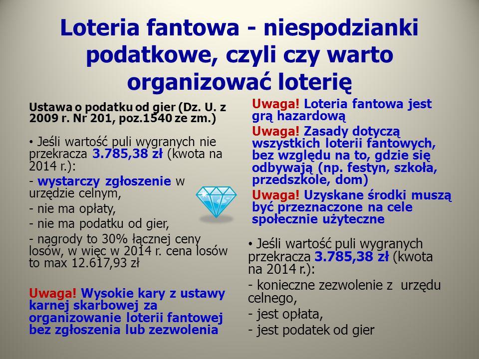 Loteria fantowa - niespodzianki podatkowe, czyli czy warto organizować loterię