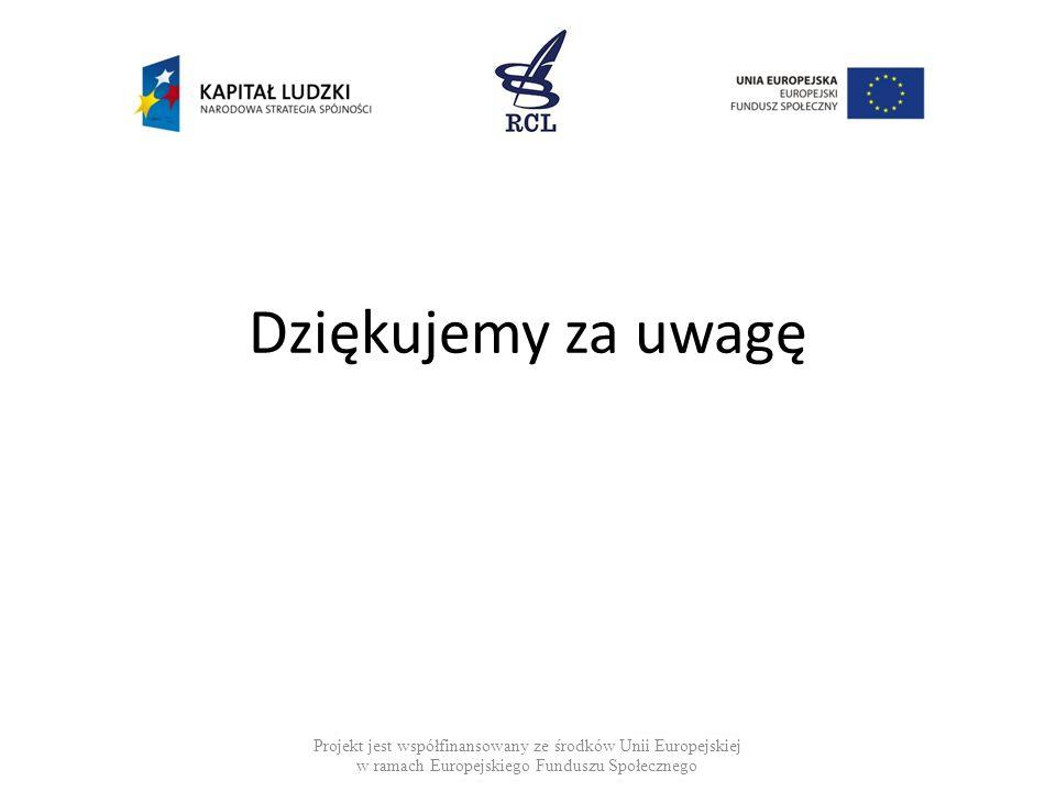 Dziękujemy za uwagę Projekt jest współfinansowany ze środków Unii Europejskiej w ramach Europejskiego Funduszu Społecznego.