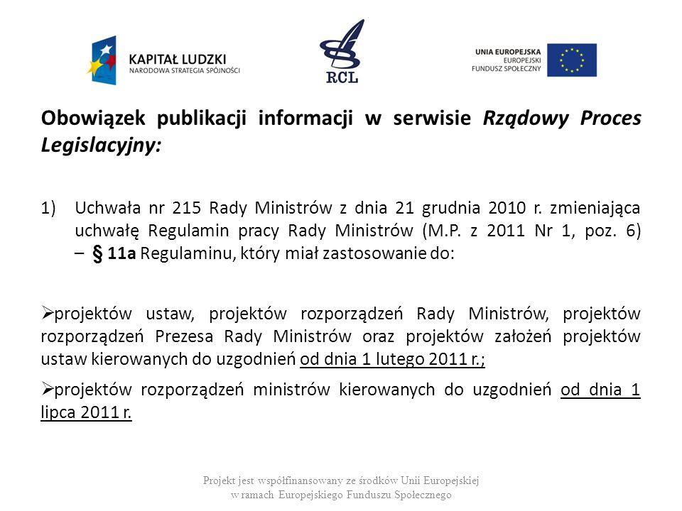Obowiązek publikacji informacji w serwisie Rządowy Proces Legislacyjny: