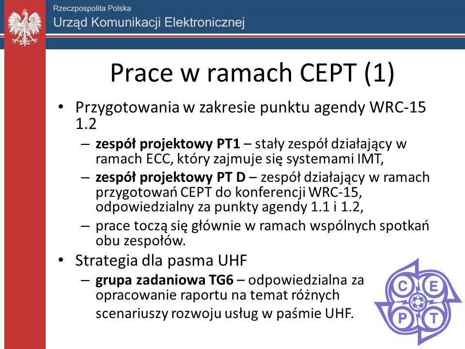 Prace w ramach CEPT (1) Przygotowania w zakresie punktu agendy WRC-15 1.2.