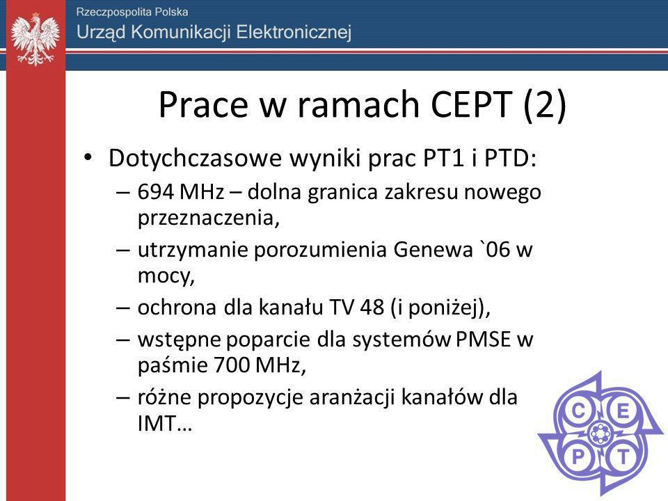 Prace w ramach CEPT (2) Dotychczasowe wyniki prac PT1 i PTD: