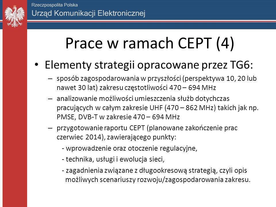 Prace w ramach CEPT (4) Elementy strategii opracowane przez TG6: