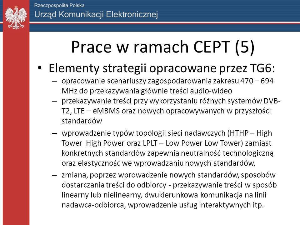 Prace w ramach CEPT (5) Elementy strategii opracowane przez TG6: