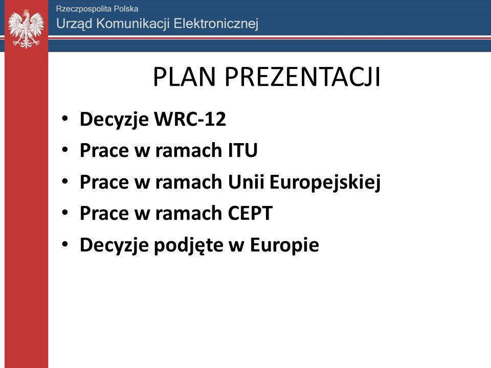PLAN PREZENTACJI Decyzje WRC-12 Prace w ramach ITU