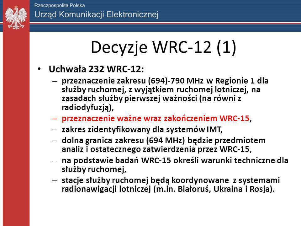 Decyzje WRC-12 (1) Uchwała 232 WRC-12: