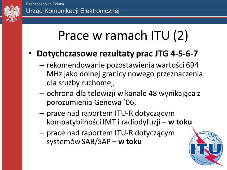 Prace w ramach ITU (2) Dotychczasowe rezultaty prac JTG 4-5-6-7