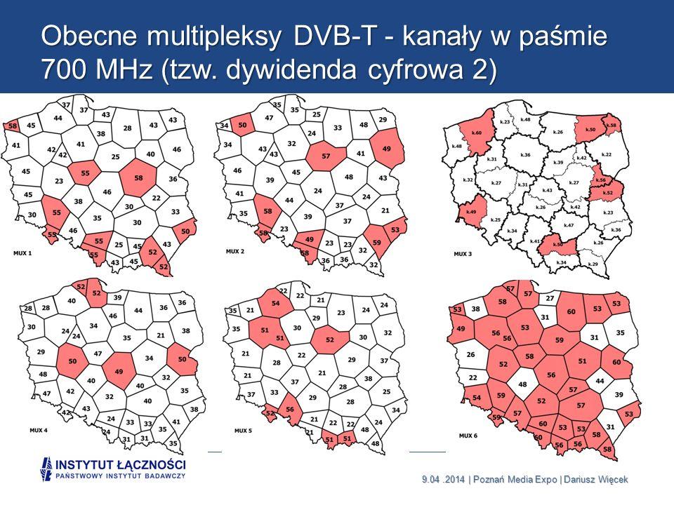 Obecne multipleksy DVB-T - kanały w paśmie 700 MHz (tzw