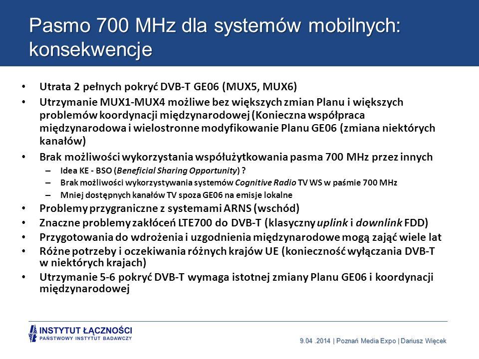 Pasmo 700 MHz dla systemów mobilnych: konsekwencje