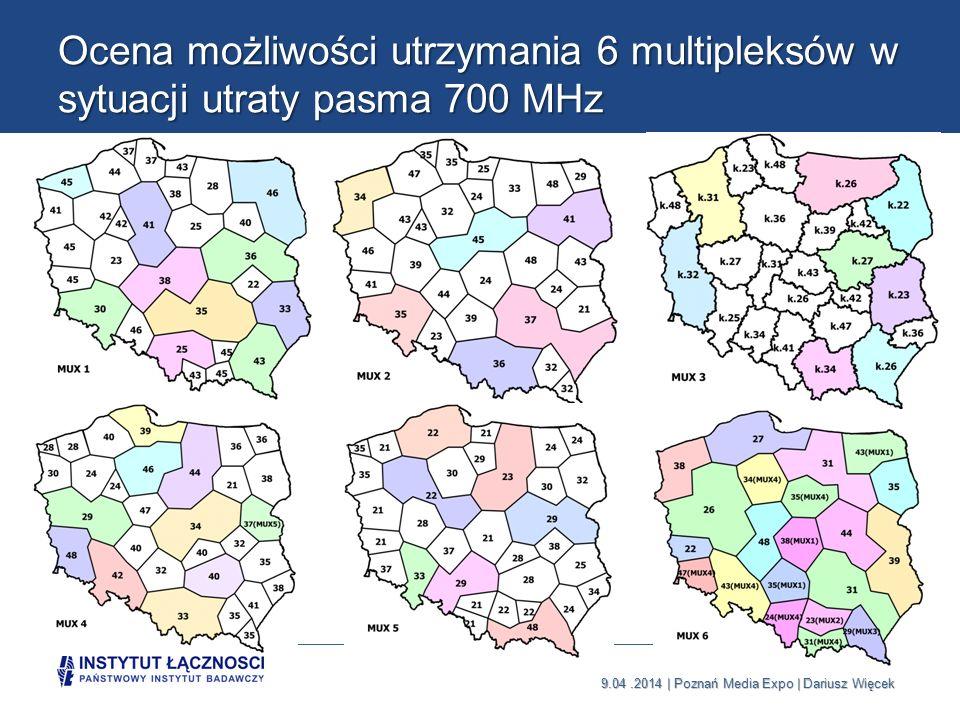Ocena możliwości utrzymania 6 multipleksów w sytuacji utraty pasma 700 MHz