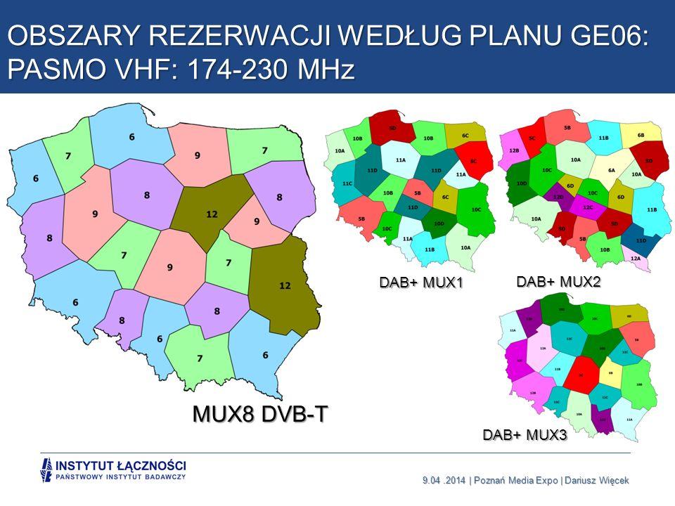 OBSZARY REZERWACJI WEDŁUG PLANU GE06: PASMO VHF: 174-230 MHz