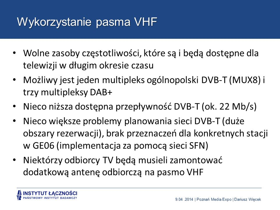 Wykorzystanie pasma VHF