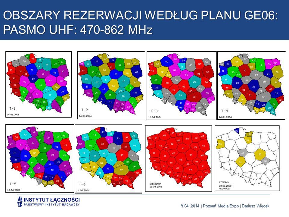 OBSZARY REZERWACJI WEDŁUG PLANU GE06: PASMO UHF: 470-862 MHz