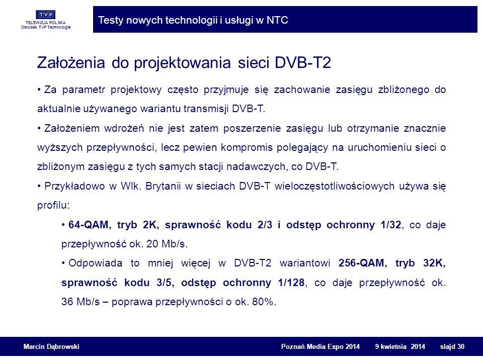 Założenia do projektowania sieci DVB-T2