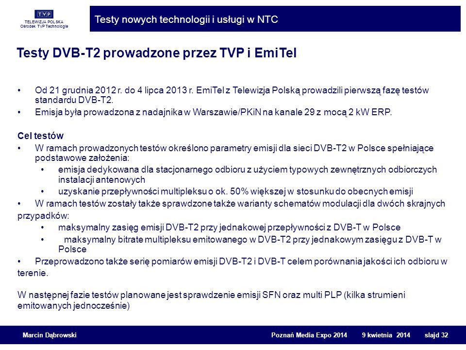 Testy DVB-T2 prowadzone przez TVP i EmiTel