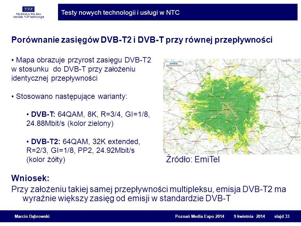 Porównanie zasięgów DVB-T2 i DVB-T przy równej przepływności