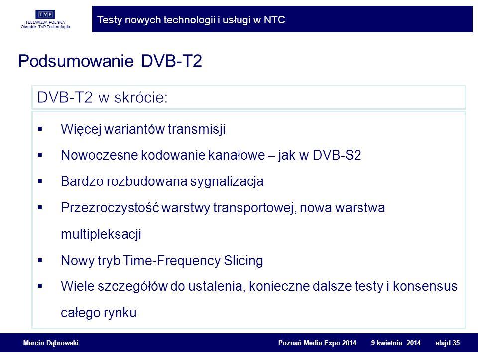 Podsumowanie DVB-T2 DVB-T2 w skrócie: Więcej wariantów transmisji