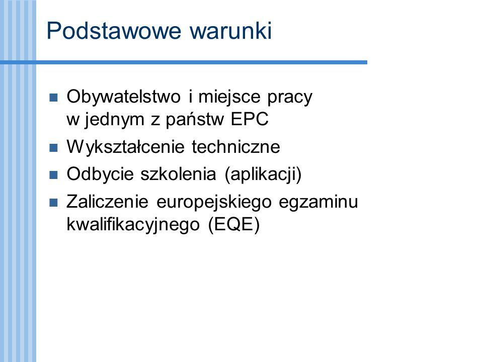 Podstawowe warunki Obywatelstwo i miejsce pracy w jednym z państw EPC