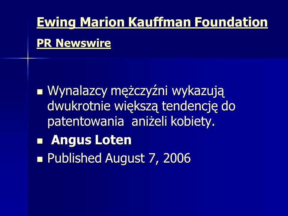 Ewing Marion Kauffman Foundation PR Newswire