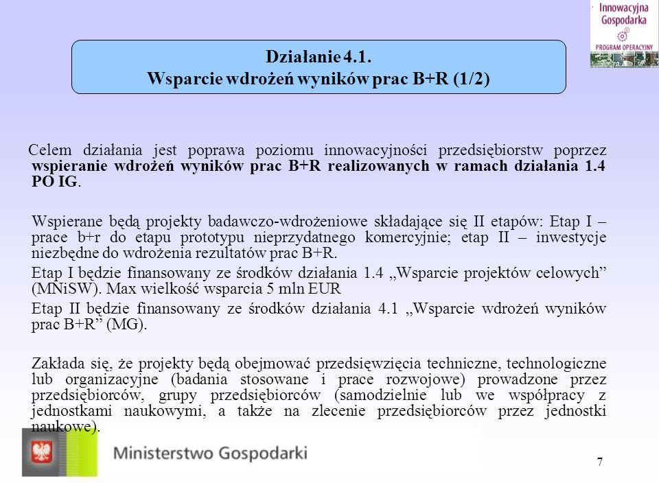 Działanie 4.1. Wsparcie wdrożeń wyników prac B+R (1/2)