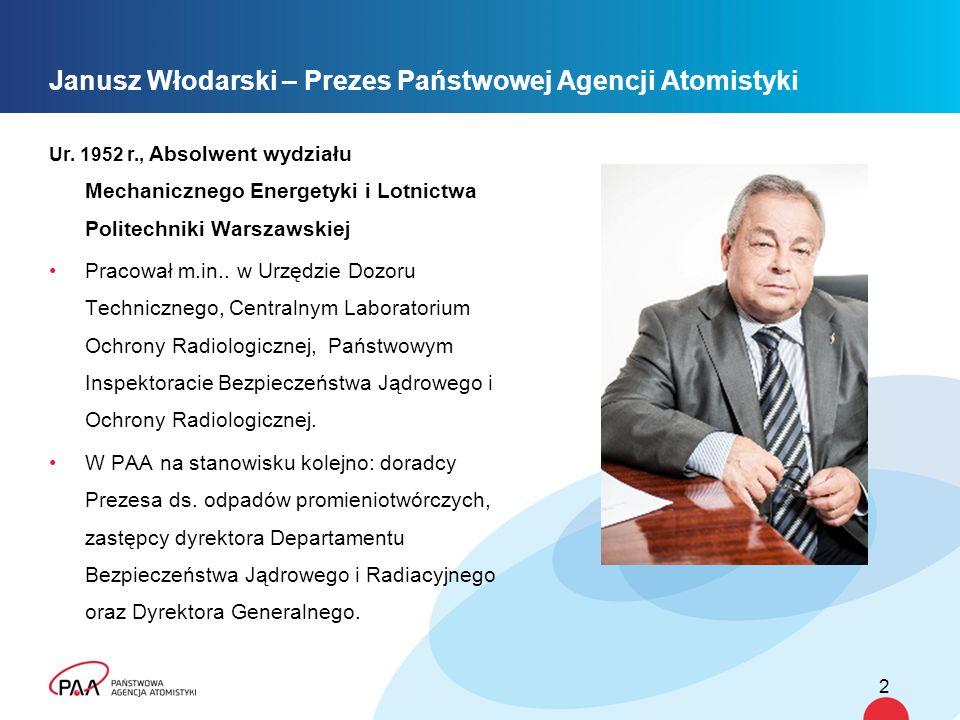 Janusz Włodarski – Prezes Państwowej Agencji Atomistyki