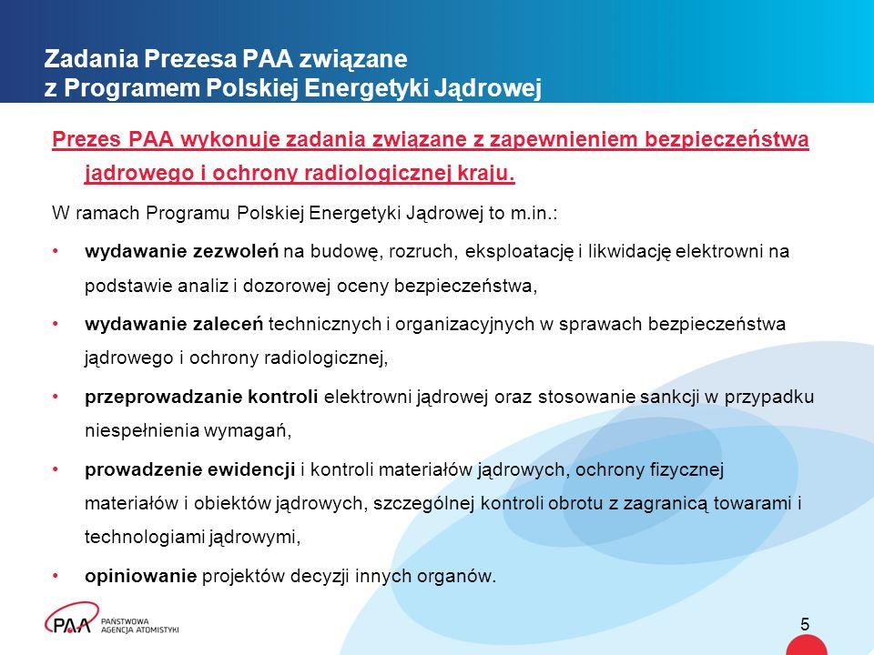 Zadania Prezesa PAA związane z Programem Polskiej Energetyki Jądrowej