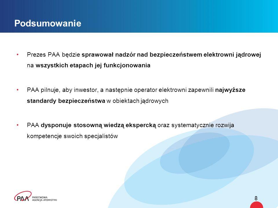 Podsumowanie Prezes PAA będzie sprawował nadzór nad bezpieczeństwem elektrowni jądrowej na wszystkich etapach jej funkcjonowania.