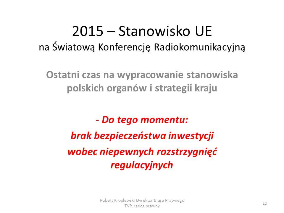 2015 – Stanowisko UE na Światową Konferencję Radiokomunikacyjną