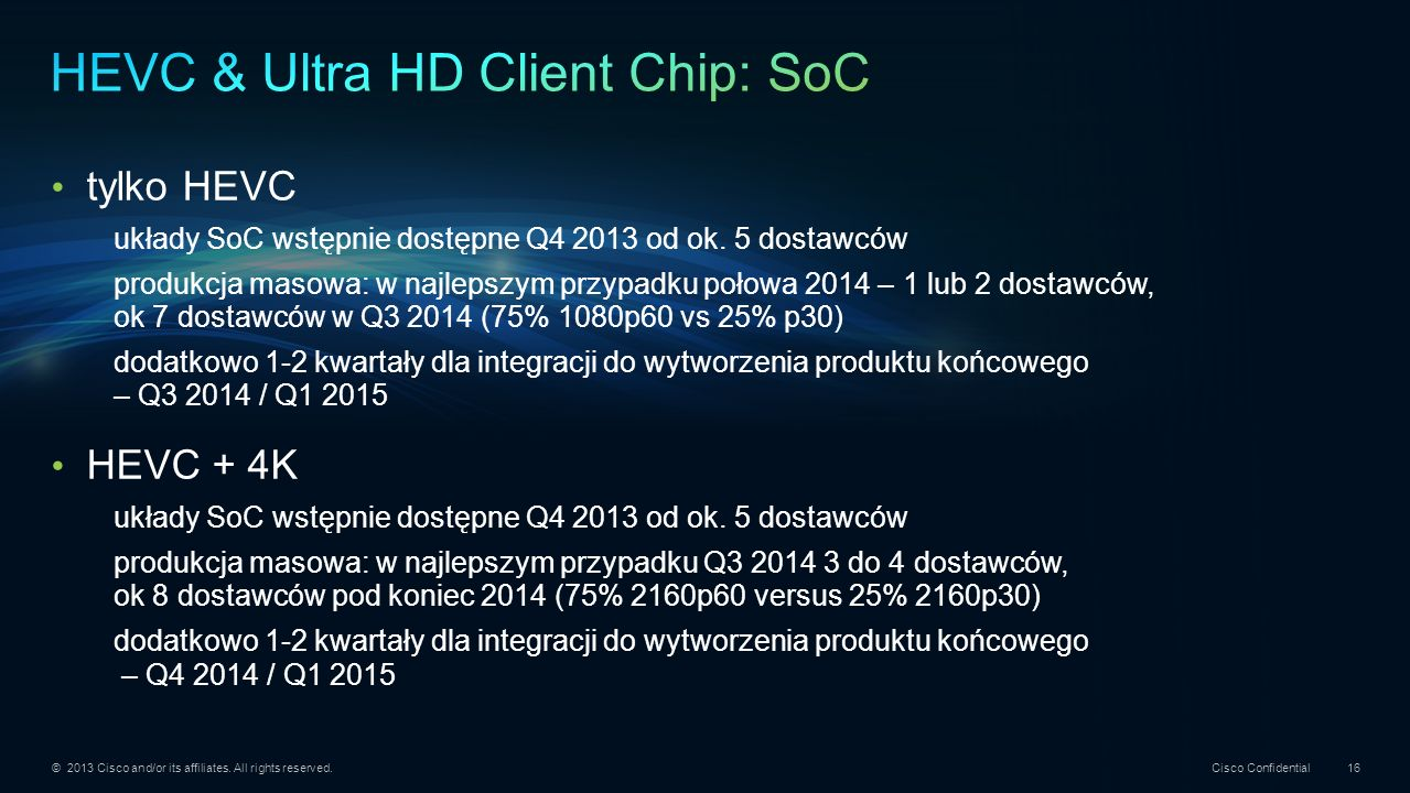HEVC & Ultra HD Client Chip: SoC