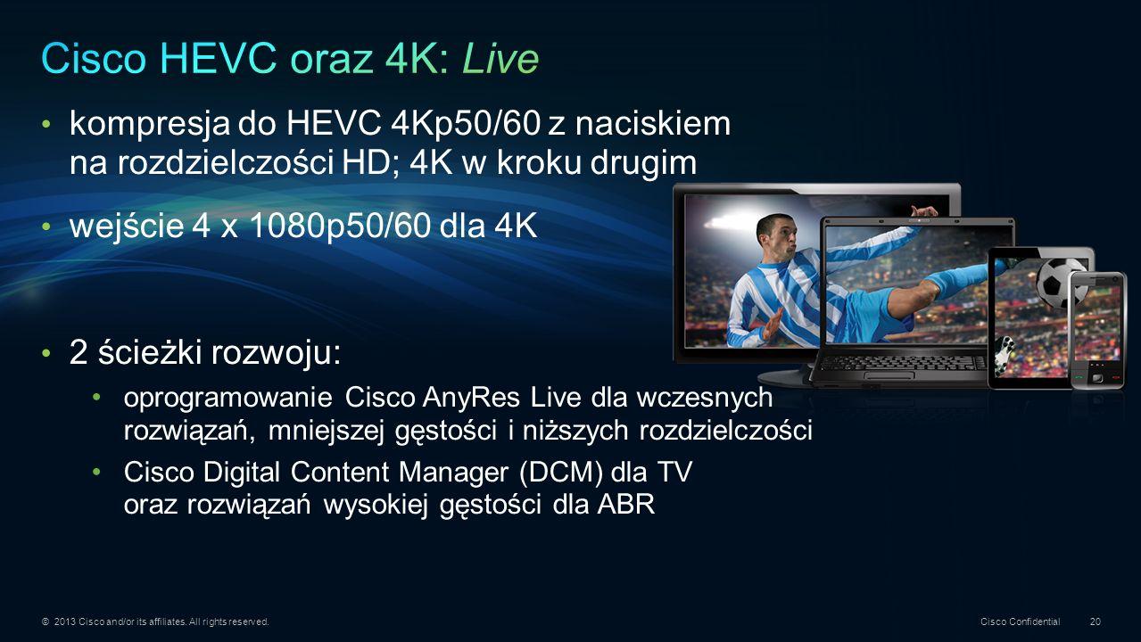 Cisco HEVC oraz 4K: Live kompresja do HEVC 4Kp50/60 z naciskiem na rozdzielczości HD; 4K w kroku drugim.