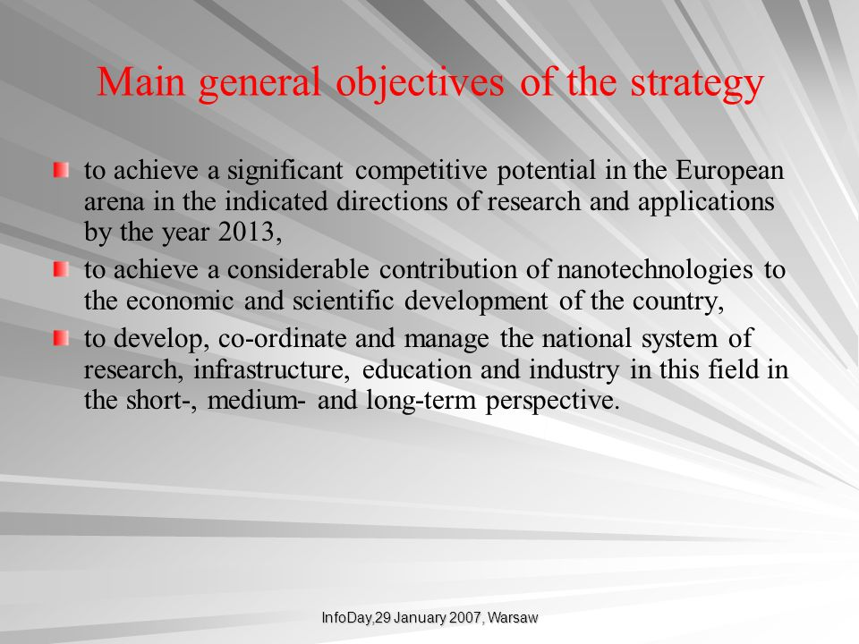 Main general objectives of the strategy