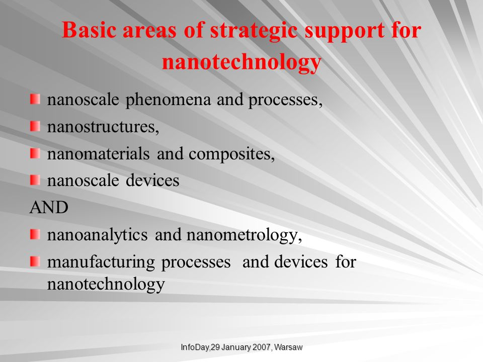 Basic areas of strategic support for nanotechnology