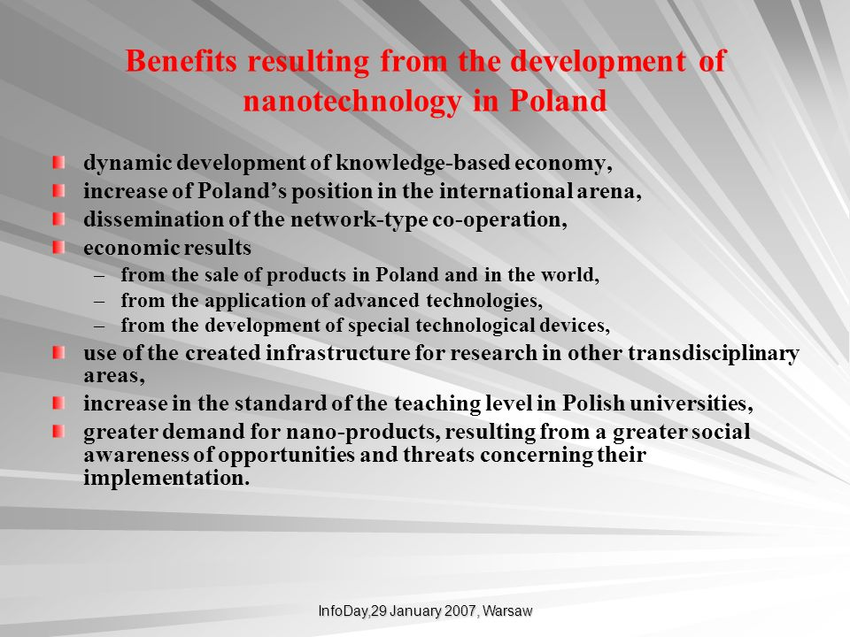 Benefits resulting from the development of nanotechnology in Poland