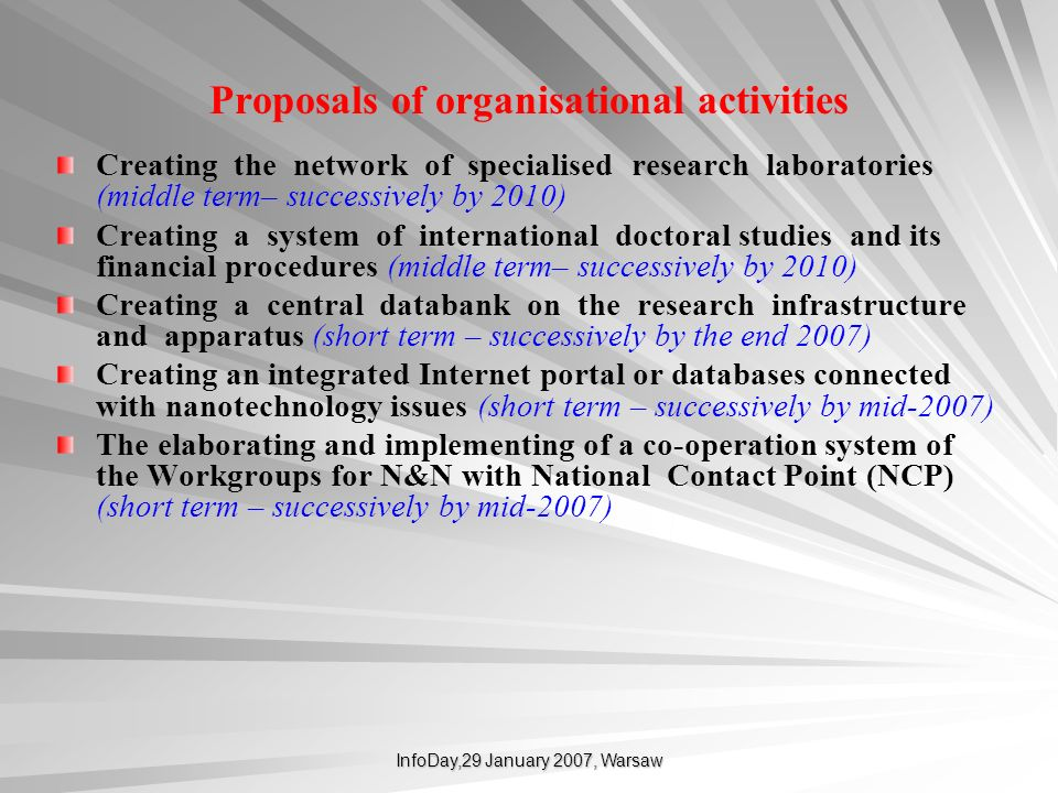 Proposals of organisational activities