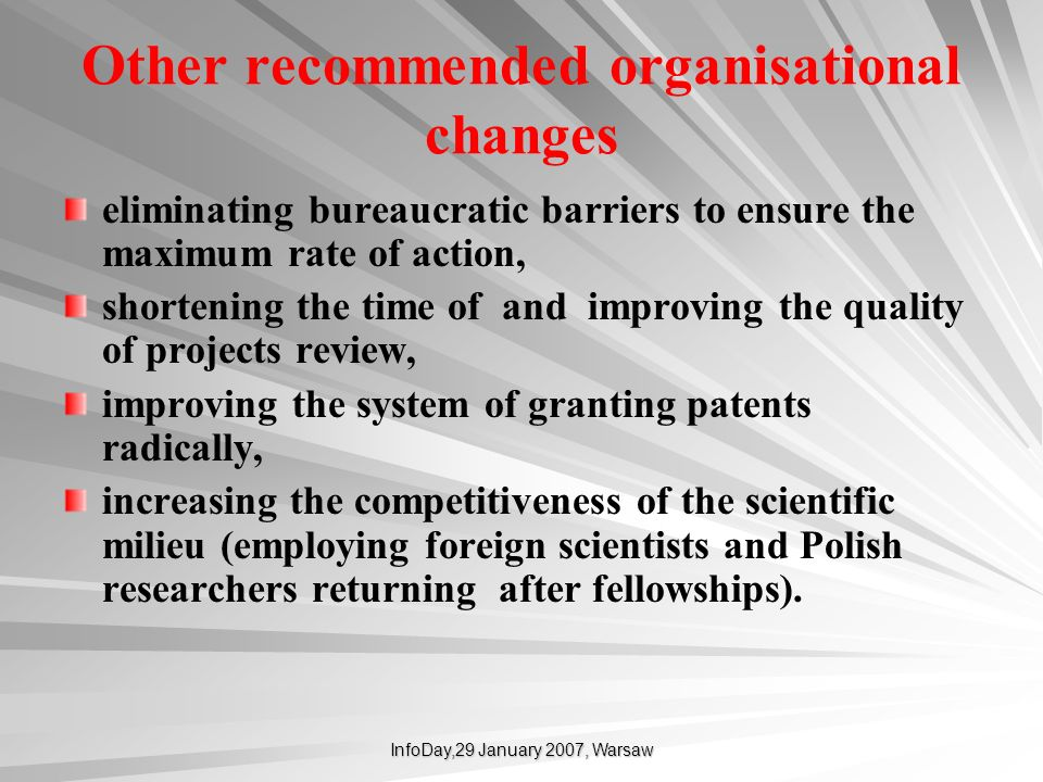 Other recommended organisational changes