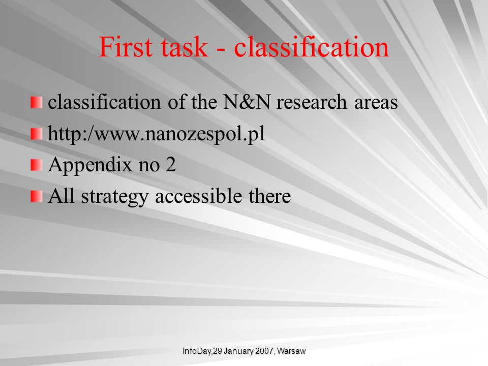 First task - classification