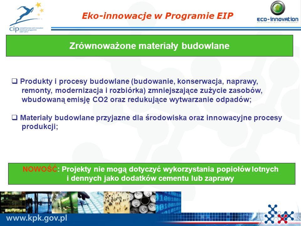 Eko-innowacje w Programie EIP Zrównoważone materiały budowlane