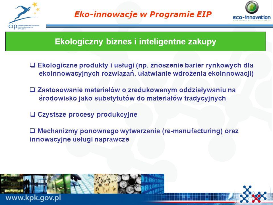 Eko-innowacje w Programie EIP Ekologiczny biznes i inteligentne zakupy