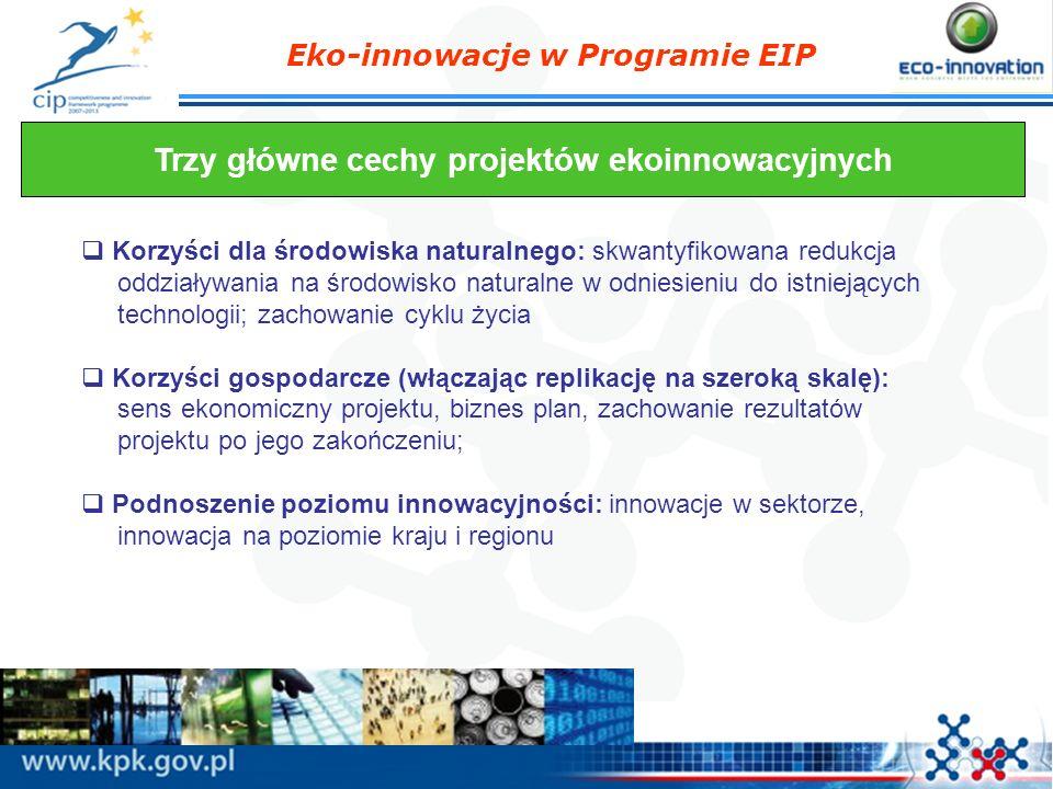 Trzy główne cechy projektów ekoinnowacyjnych
