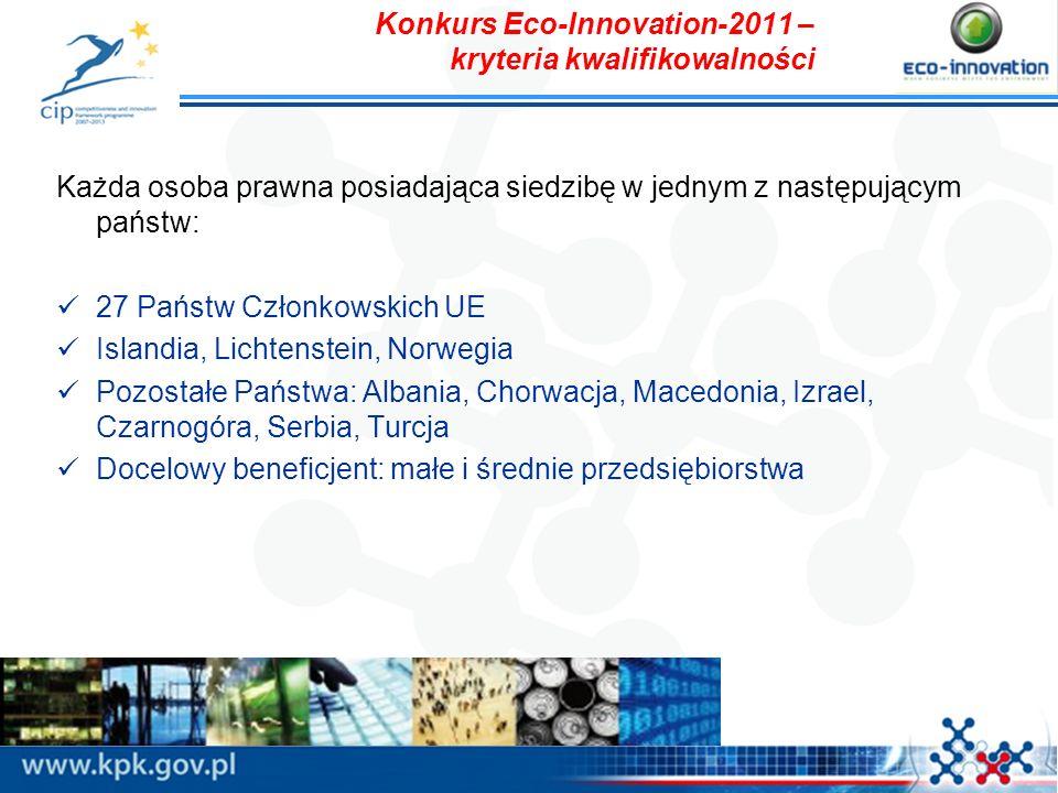 Konkurs Eco-Innovation-2011 – kryteria kwalifikowalności