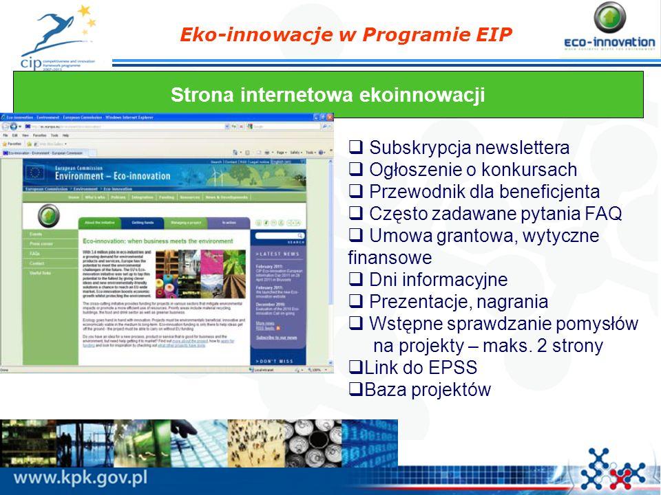 Eko-innowacje w Programie EIP Strona internetowa ekoinnowacji