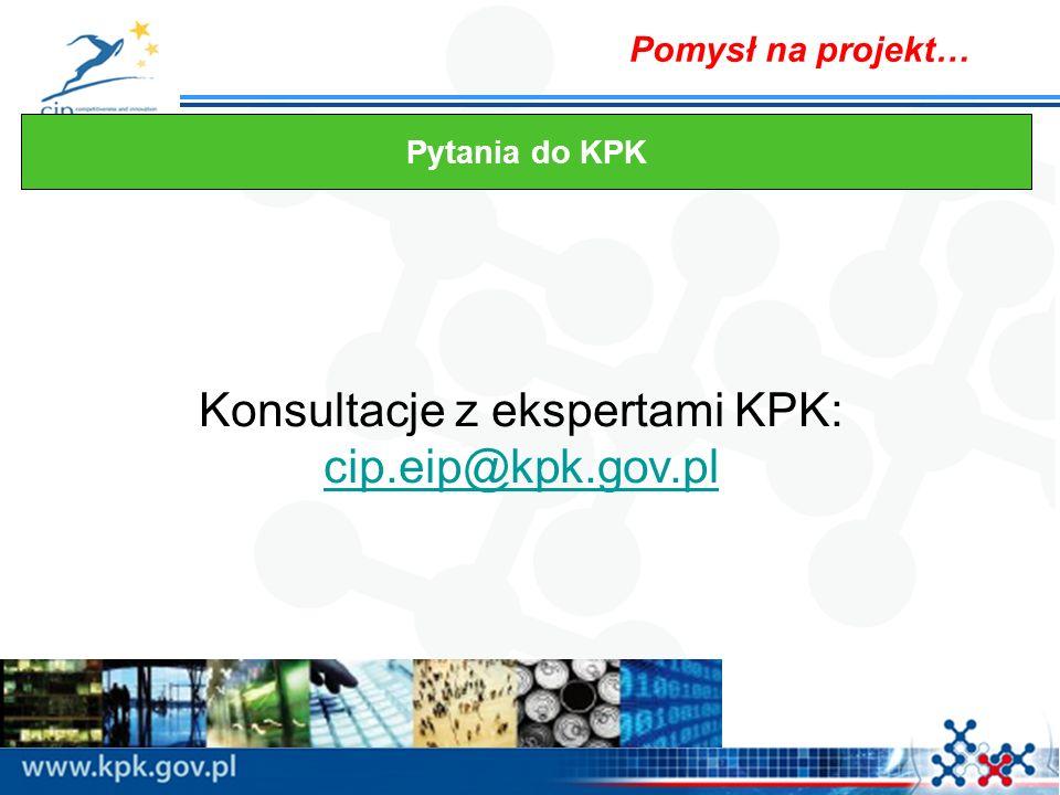 Konsultacje z ekspertami KPK: cip.eip@kpk.gov.pl