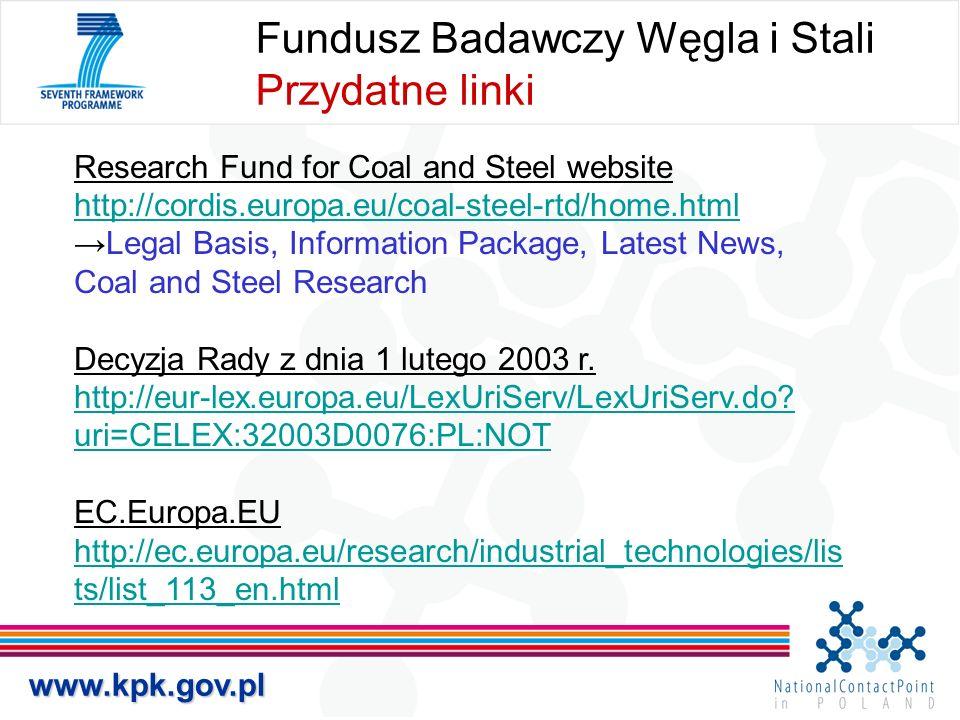 Fundusz Badawczy Węgla i Stali Przydatne linki