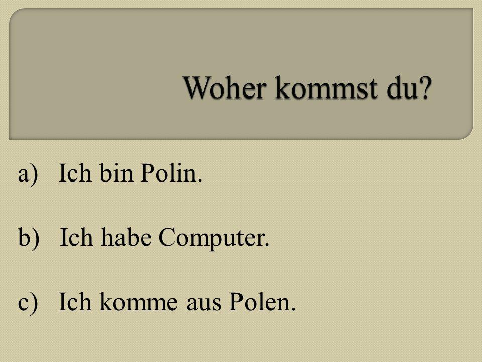 a) Ich bin Polin. b) Ich habe Computer. c) Ich komme aus Polen.